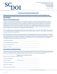 """Affidavit of Exam Proctoring Form"" - South Carolina"