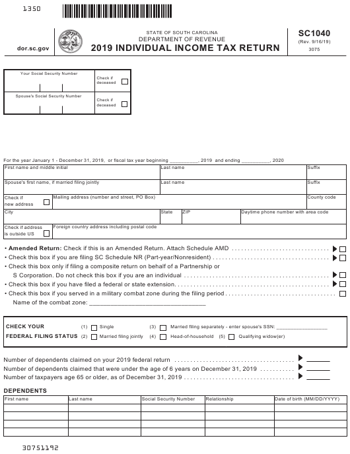Form SC1040 2019 Printable Pdf