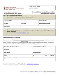 "Form SOF3 ""Eminent Scholar Lakota, Dakota, Nakota Recommendation for Certification"" - South Dakota"