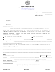 "Formulario LB-1099 ""Aviso De Apelacion"" - Tennessee (Spanish)"