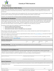 "Form VTR-136 ""County of Title Issuance"" - Texas"