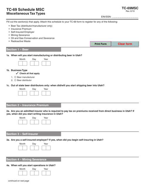 Form TC-69 Schedule MSC  Printable Pdf