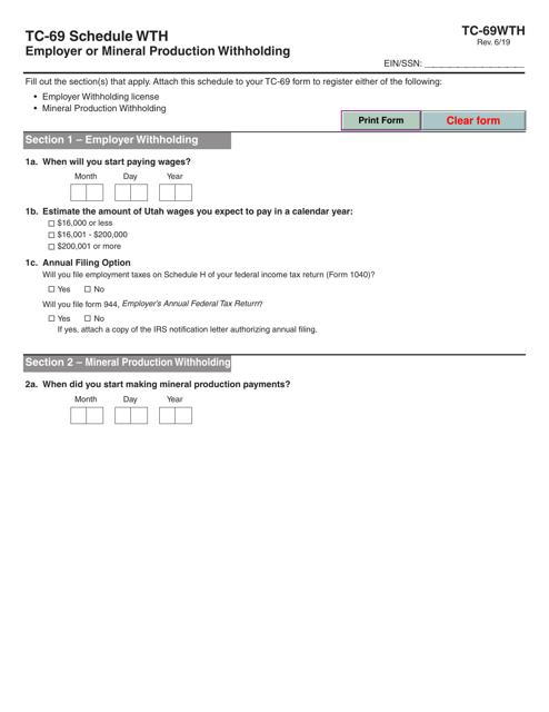 Form TC-69 Schedule WTH  Printable Pdf