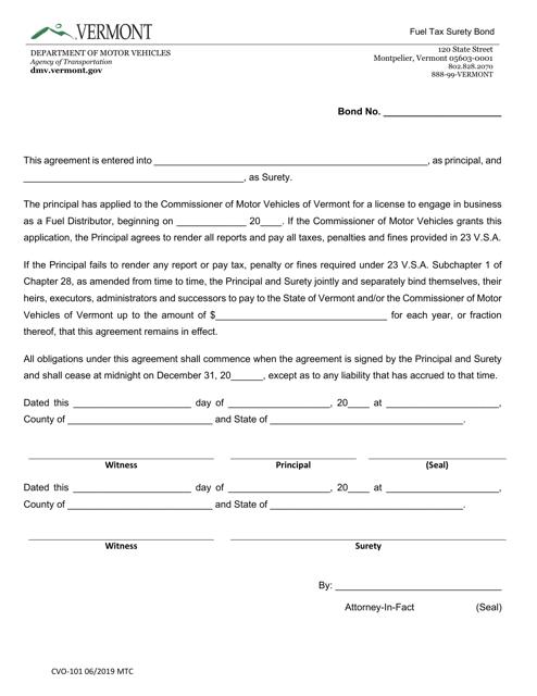 Form CVO-101  Printable Pdf