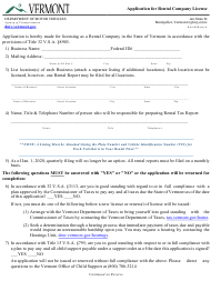 """Form CVO-002 """"Application for Rental Company License"""" - Vermont"""