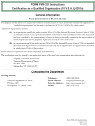 """Form PVR-321 """"Application for Certification as a Qualified Organization"""" - Vermont"""