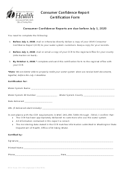 "DOH Form 331-203 ""Consumer Confidence Report Certification Form"" - Washington"
