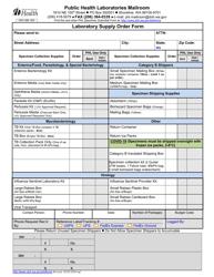 "Form DOH308-003 ""Laboratory Supply Order Form"" - Washington"