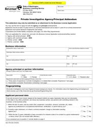 "Form BLS-700-320 ""Private Investigative Agency/Principal Addendum"" - Washington"