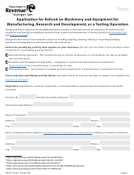 """Form REV41 0124 """"Application for Refund on Machinery and Equipment for Manufacturing, Research and Development, or a Testing Operation"""" - Washington"""