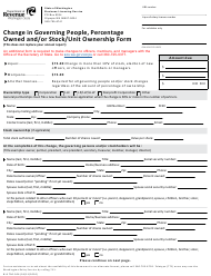 """Form BLS700-306 """"Change in Governing People, Percentage Owned and/Or Stock/Unit Ownership Form"""" - Washington"""