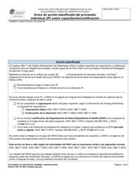 """DSHS Formulario 07-097 """"Aviso De Accion Planificada Del Proveedor Individual (Ip) Sobre Capacitacion/Certificacion"""" - Washington (Spanish)"""