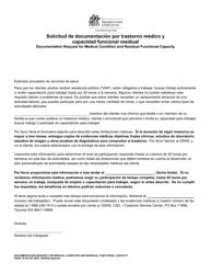 """DSHS Formulario 10-353 """"Solicitud De Documentacion Por Trastorno Medico Y Capacidad Funcional Residual"""" - Washington (Spanish)"""