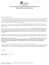 """DSHS Form 10-353 """"Documentation Request for Medical Condition and Residual Functional Capacity"""" - Washington"""