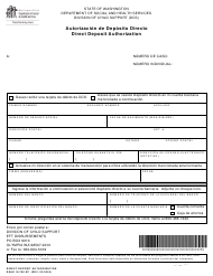 "DSHS Formulario 18-700 ""Autorizacion De Deposito Directo"" - Washington (Spanish)"