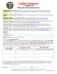"""Candidate Financial Interest Statement"" - South Dakota"