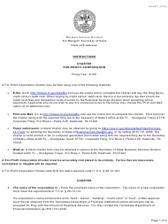 """Form SS-4417 """"Charter for-Profit Corporation"""" - Tennessee"""