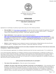 """Form SS-4431 """"Application for Certificate of Authority for-Profit Corporation"""" - Tennessee"""
