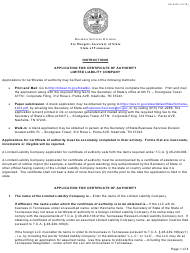 """Form SS-4233 """"Application for Certificate of Authority Limited Liability Company"""" - Tennessee"""