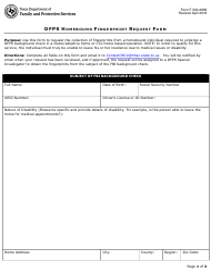 "Form F-500-2856 ""Dfps Homebound Fingerprint Request Form"" - Texas"