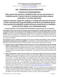 "TDLR Form IHB151 ""Commercial Installation Permit Application"" - Texas"
