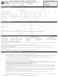"Form CDL-1 ""Texas Commercial Driver License Application"" - Texas"