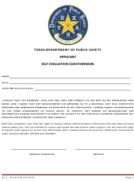 "Form RC-5 ""Self Evaluation Questionnaire"" - Texas"