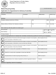 """Form RSD-47 """"Application for Appointment to the Metals Recycling Advisory"""" - Texas"""