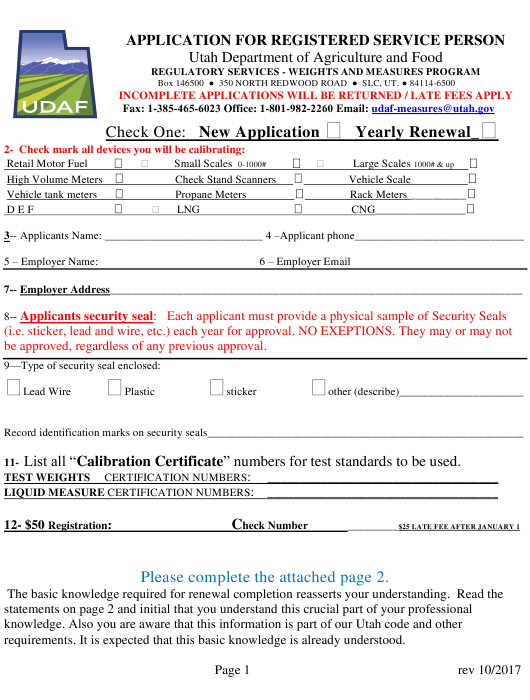 """""""Weighing & Measuring Device/Individual Application for Registered Service Person"""" - Utah Download Pdf"""