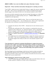 "Instructions for Form CAFR-1 ""Accounts Receivable Worksheet"" - Vermont, 2020"