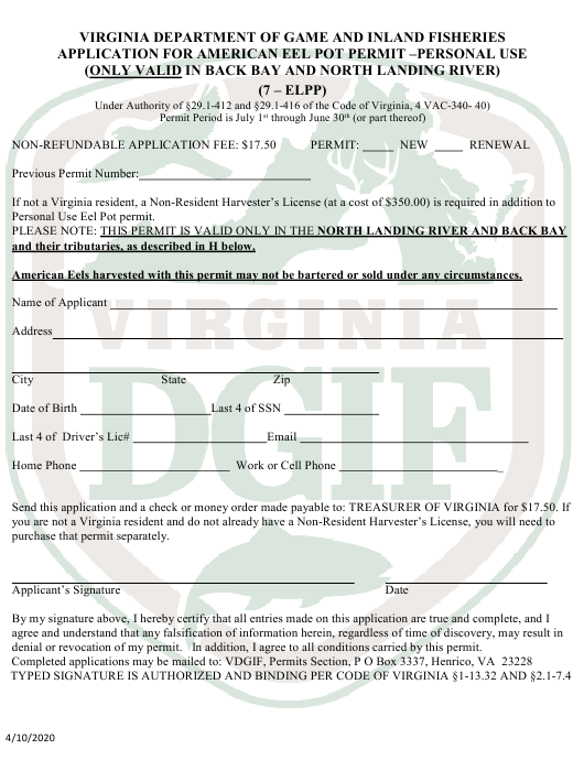 """""""Application for American Eel Pot Permit - Personal Use"""" - Virginia Download Pdf"""