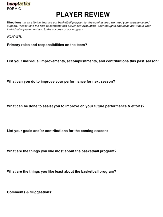"""Basketball Player Review Template - Hooptactics"" Download Pdf"