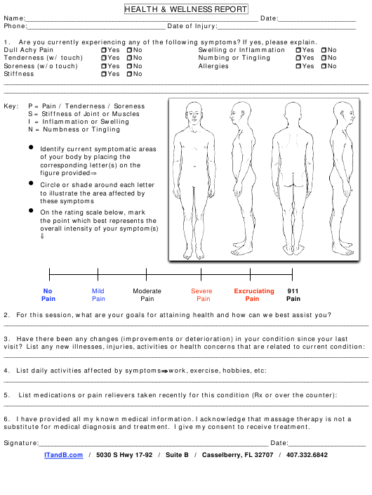 """Health & Wellness Report Template - Integrative Touch and Bodywork"" Download Pdf"
