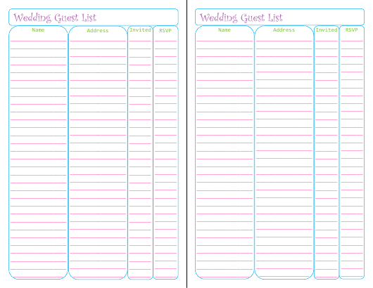 wedding guest list templates download printable pdf templateroller