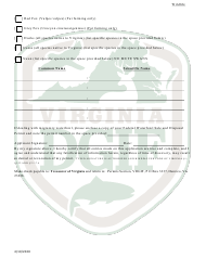 """""""Application to Possess, Propagate, Buy and Sell Certain Wildlife in Virginia (23 - Prsl) - Wildlife"""" - Virginia, Page 2"""