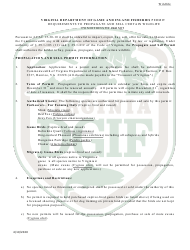 """""""Application to Possess, Propagate, Buy and Sell Certain Wildlife in Virginia (23 - Prsl) - Wildlife"""" - Virginia, Page 5"""