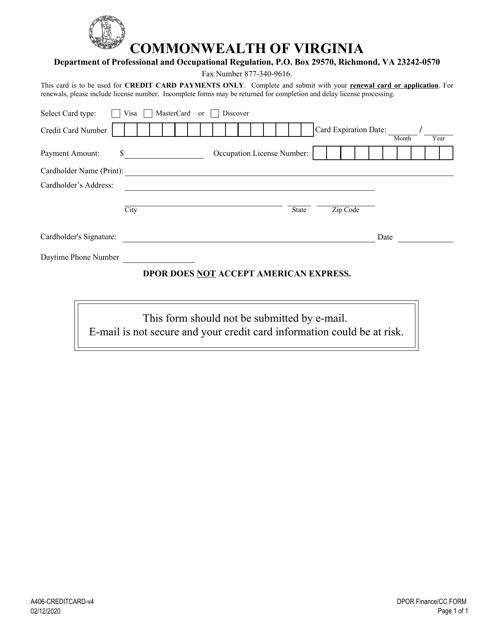 Form A406-CREDITCARD  Printable Pdf