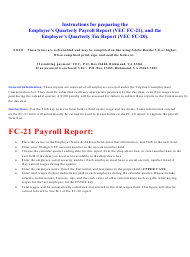 """Instructions for Form VEC FC-21, VEC FC-20 """"Employer Quarterly Payroll and Tax Report"""" - Virginia"""