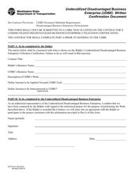 "DOT Form 422-031U ""Underutilized Disadvantaged Business Enterprise (Udbe) Written Confirmation Document"" - Washington"