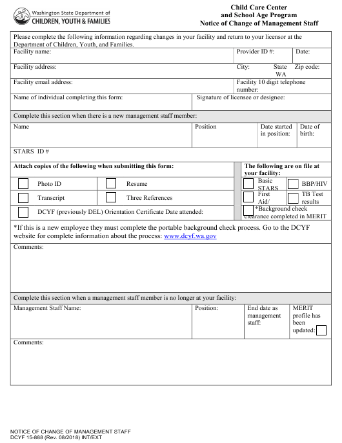 DCYF Form 15-888  Printable Pdf