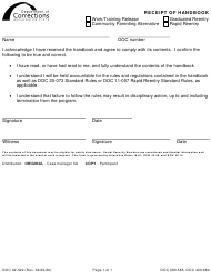 "Form DOC02-322 ""Receipt of Handbook"" - Washington"