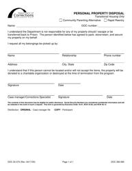 "Form DOC02-374 ""Personal Property Disposal"" - Washington"