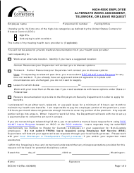 """Form DOC03-112 """"High-Risk Employee Alternate Work Assignment, Telework, or Leave Request"""" - Washington"""