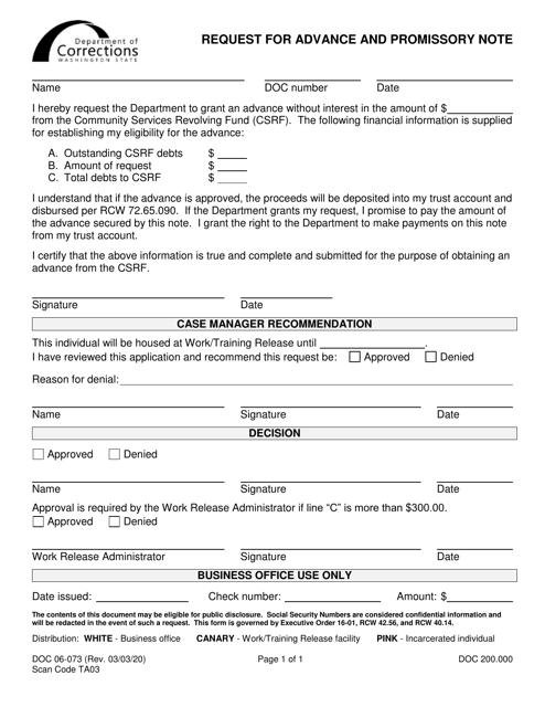 Form DOC06-073  Printable Pdf