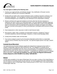 "Form DOC11-007 ""Rapid Reentry Standard Rules"" - Washington"