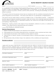 """Form DOC11-008 """"Rapid Reentry Search Waiver"""" - Washington"""