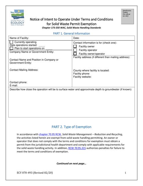 Form ECY070-493 Printable Pdf