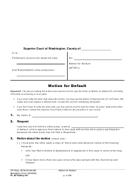 "Form FL All Family161 ""Motion for Default"" - Washington"