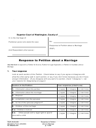 "Form FL Divorce211 ""Response to Petition About a Marriage"" - Washington"