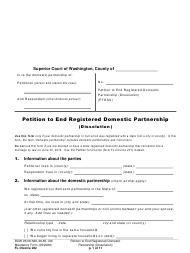 "Form FL Divorce202 ""Petition to End Registered Domestic Partnership (Dissolution)"" - Washington"